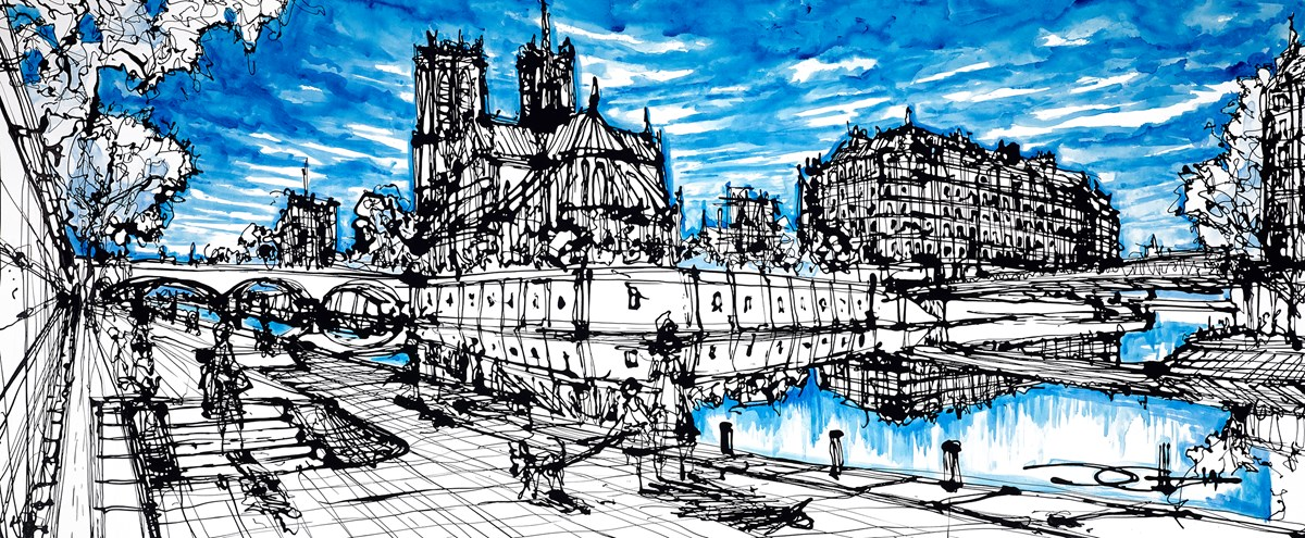 Below Pont De La Tournelle by ingo -  sized 60x24 inches. Available from Whitewall Galleries